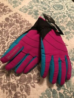 NWT 3M Thinsulate Swiss Tech Girls Sparkling Orchid & Turquoise Ski Gloves L/XL
