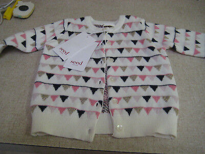 Seed Heritage Vintage Rose Bunting Cardigan-3-6 Months-New With Tags