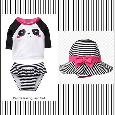 NWT- GYMBOREE GIRLS BABY BUDDIES PANDA TWO PEICE SWIMWEAR W/HAT SET. Sz.3/6M