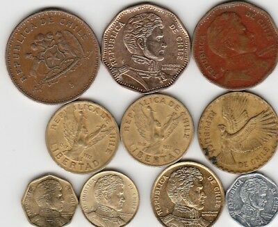 10 different world coins from CHILE