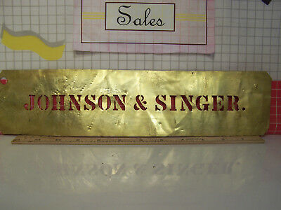 "Antique Brass Crate Stencil ""Johnson & Singer"""