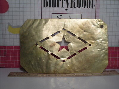Antique Brass Apple Crate / Barrel Trademark Stencil Diamond with Star