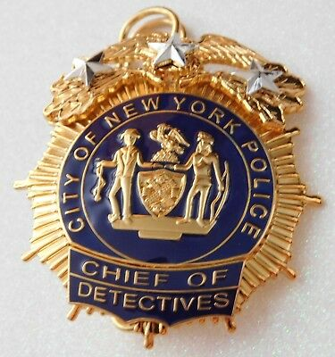 NYPD Chief of Detectives Police Movie Prop Badge - Great Collectors Badge