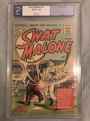Swat Malone #1 CGC 7.0 F/VF (Sept 1955), White Pages