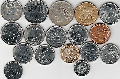 17 different world coins from BRAZIL