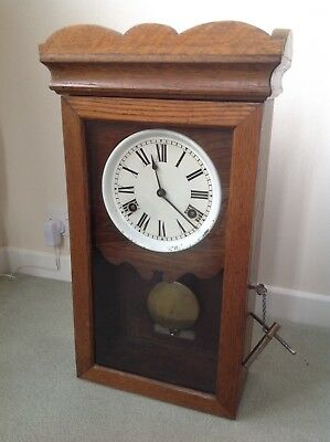 Wall Mounted Clock, Wind Up Wound Antique Wooden With Brass Pendulum Tall Case