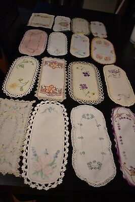 Lot of  16 Embroidered vintage sandwhich doilies