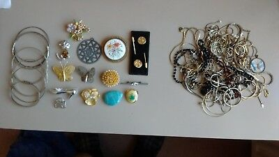 Job Lot Of Unsorted 1970's And Earlier Jewellery.bangles=Broaches=Chains=Etc