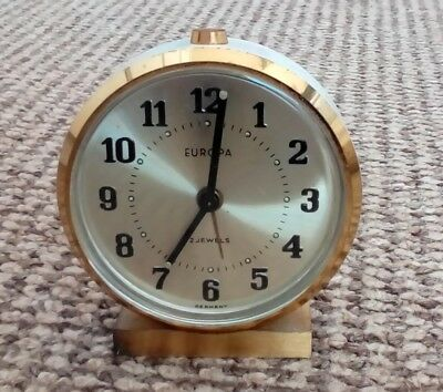 Vintage Europa 2 Jewels Travelling Alarm Clock