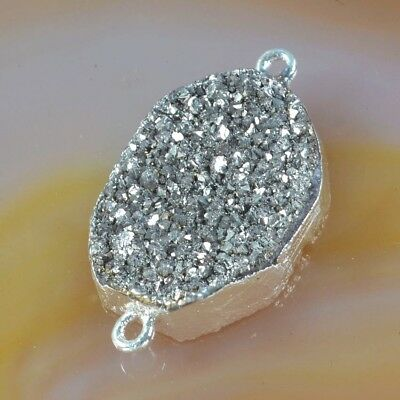 Natural Agate Titanium Druzy Connector Silver Plated T051348