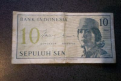 Bank Indonesia 10 Sepuluh Sen Bank Note 1964