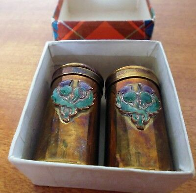 Vintage Small Brass Salt & Pepper Shakers,TartanCraft Souvenir. Made in Scotland