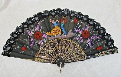 Vintage Spanish Painted Hand Fan