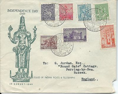1949 Independence Day set of 7 to 6 As Special Bombay Elephant  Postmark 15 Aug