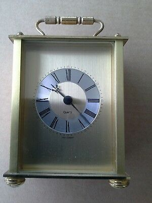 Vintage Brass Mantel Carriage Clock West Germany Swiss Movement 4 brass feet