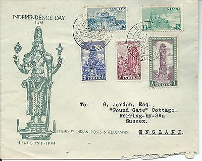 1949 Independence Day set of 5 to 1 Re Special Bombay Elephant  Postmark 15 Aug