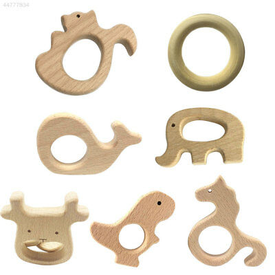 B3A4 Infants Baby Wooden Teether Teething Toy Teeth Development Natural Gifts