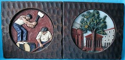 2 x Antique Carved Wall Plaques of Woodsmen and Cityscape Decorative Folk Art