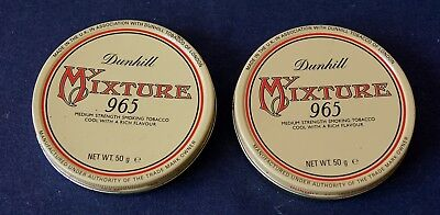 2 x dunhill My Mixture 965 - alt, voll - collectible pipe tobacco tins vacuum 1