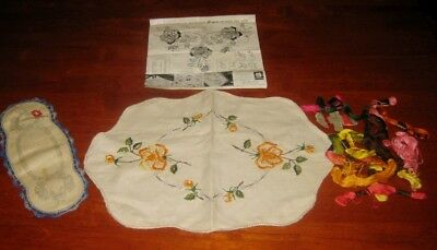 2 Vintage Doilies  + Thread ~ Embroidery To Be Completed ~ Linen