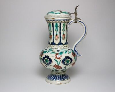 Antique Islamic Iznik ewer and cover, possibly 19thc. French