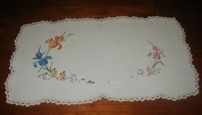 Vintage Hand Embroidered Doily/centre Piece~Bright Coloured Iris'~Lace Edged