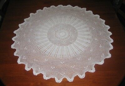 Vintage Crocheted Lace Tablecloth ~ White ~ Cotton ~ Round
