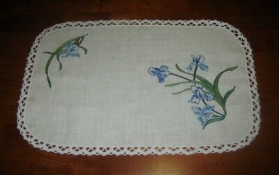 Vintage Hand Embroidered Doily/centre Piece~Blue Iris'~Lace Edged~Linen~New