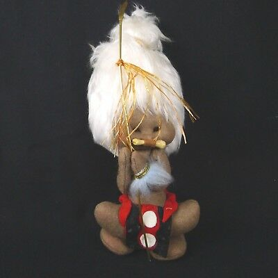 1960s Artisan Felt Doll Tribal Boy Fuzzy White Hair With Spear And Bone In Nose