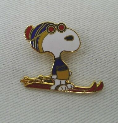Snoopy Skiing Pin Enamel Gold Tone Brooch Wearing Sunglasses And Toque