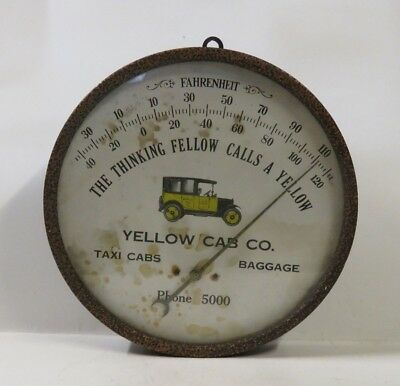 "Vintage/antique ""yellow Cab Company Thermometer""  / 8-9Ea"