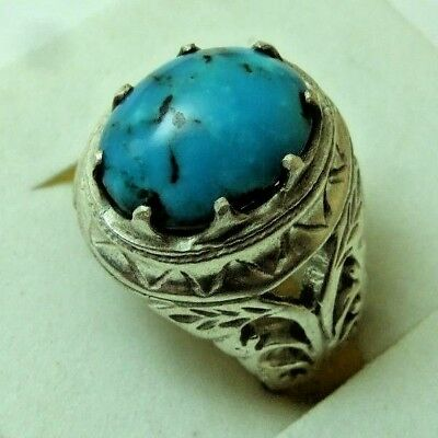 Natural Persian Turquoise 925 Sterling silver ring 10-gm sizes us:8
