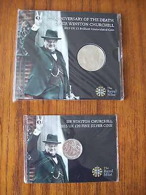 Royal Mint: UK  2015 Churchill £5 & £20 Uncirculated & Sealed Coin Packs