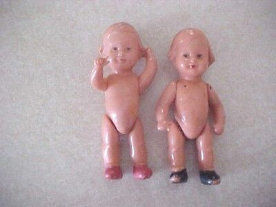 Vintage Hard Plastic Jointed Miniature Dolls Made In Germany -Lot Of 2