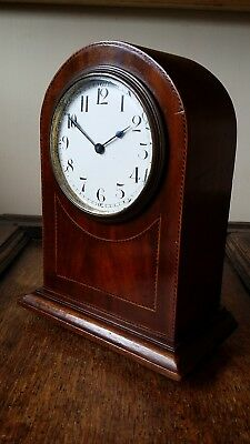 1900 Small Antique Inlaid Wood Mantel Clock 8 Day Quality Swiss Buren Movement