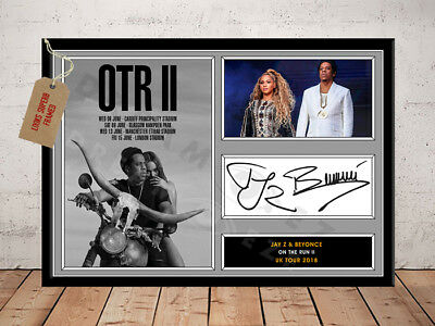 JAY Z BEYONCE SIGNED Photo Print ON THE RUN TOUR 2018 Free Postage