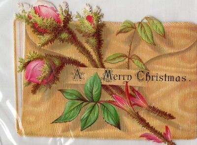 1800's Victorian Diecut Card - Christmas - Roses - Selling Lot Of Cards