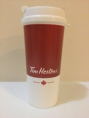 Tim Horton's 16 oz Plastic Travel Coffee Mug Cup 2017 Canada Maple Leaf Whirley