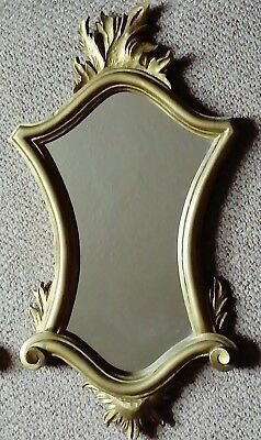 Vintage, French Regency Style Mirror, Hand Carved Wooden Frame, Gold Gilded