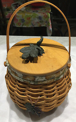 Longaberger Fall Basket with cloth and plastic liner