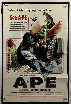 APE Movie Poster (VeryFine)  One Sheet 1976 King Kong Horror Jaws 1037