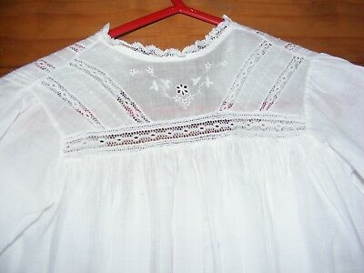 Victorian Girls Child Cotton Nightdress Embroidered Lace Inset Pin Tucks