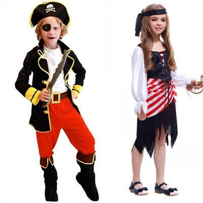 2018 Kids Halloween Costume Bad Pirate Fancy Girls Boys Cosplay Party Suit Dress