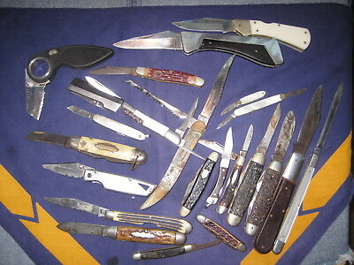 Junk Drawer Lot Knives (23) Parts Restore Queen Ulster