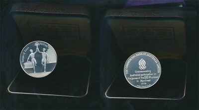 """Australia: 1976 Olympic Temple of Zeus 1oz Proof Silver Medal, Cased """"CBC"""" Issue"""