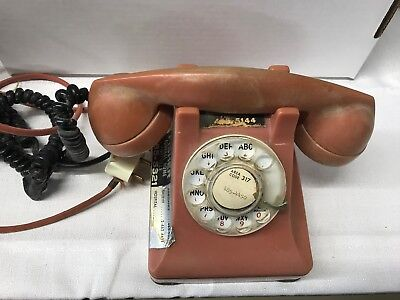 Vintage United Telephone Dial Rotary Phone Itt Desk Red With Original Box