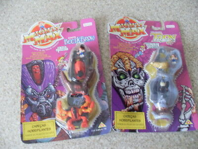 Mighty Max zaps Beetlebrow & crushes Talon Bluebird Toys 1994 MOSpanishCard