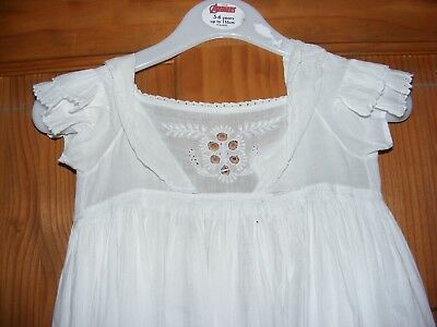 Victorian Girls Child Cotton Nightdress Embroidered Lace Full Length