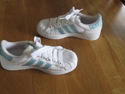 womens white adidas superstar trainers skate shoe size 4 ladies girls blue stri