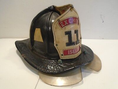 Cairns Leather Helmet Vintage 1960s New Yorker 5A Iselin New Jersey Fire Dept.